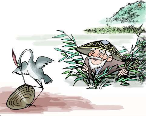A cartoon picture interprets The Snipe Clam Grapple story. [Photo: blog.sina.com.cn]